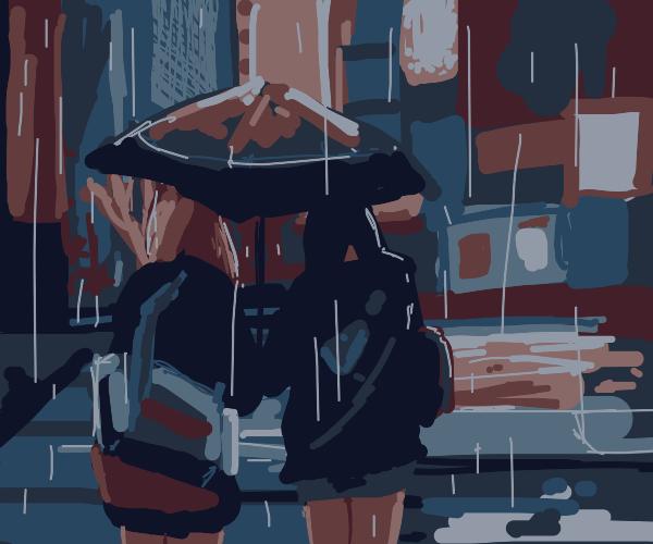 Two school girls share umbrella during rain