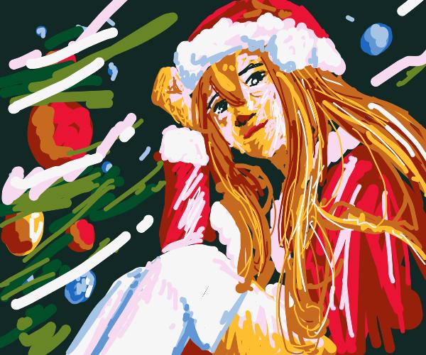 Girl in a Santa costume