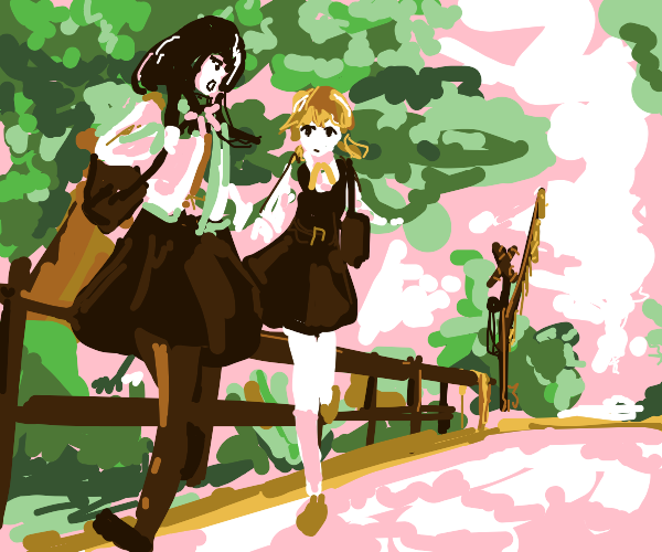 Two girls heading to school