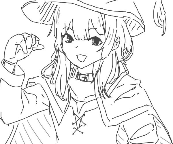 A waifu with a cape