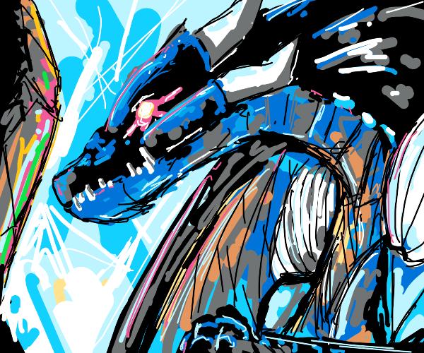 dragon prepares to destroy a city