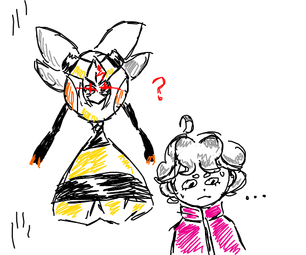 Bede (from Pokemon) eating a bee