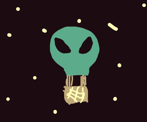 Alien Hot Air Balloon in Space