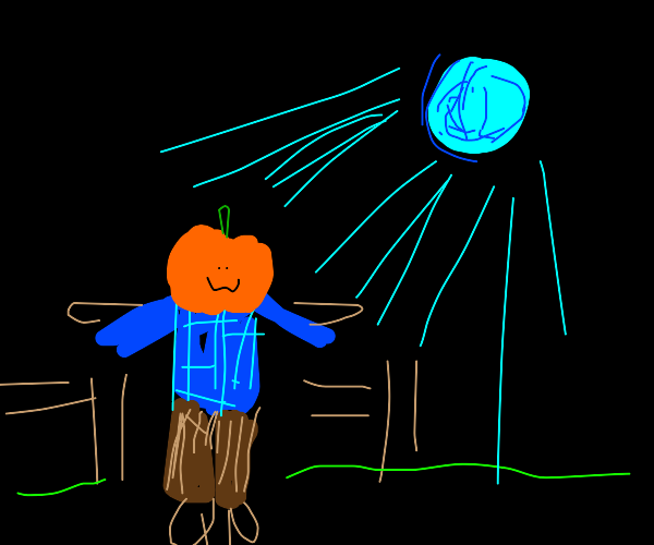 Scarecrow sitting outside during a blue moon