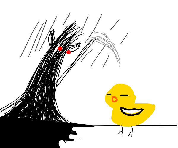 Evil demon murdering peaceful duck