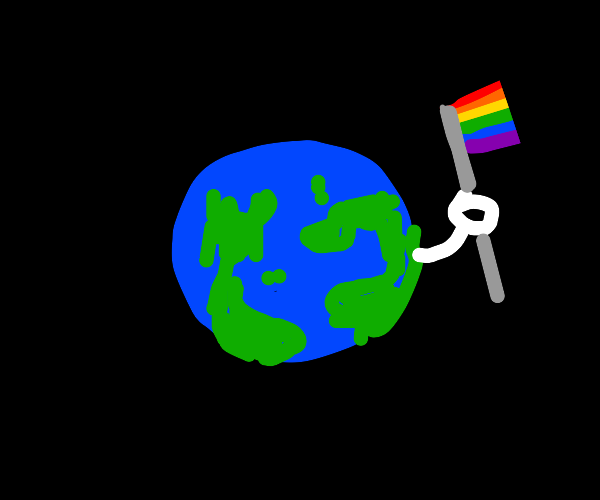 Earth holding a rainbow flag