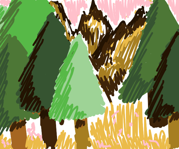 mountain + forest landscape
