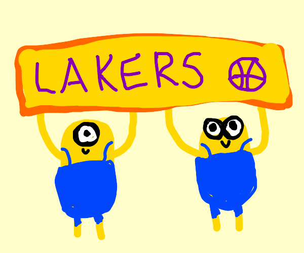 """2 minions holding a """"lakers""""  sign"""