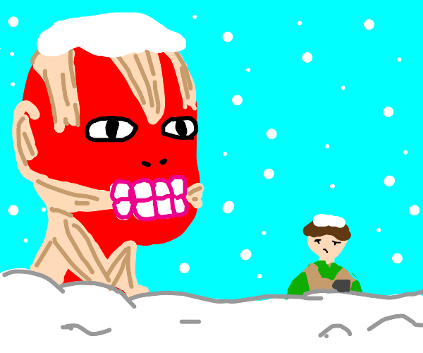 Attack on Titan character chest-deep in snow