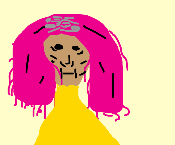 old lady with pink hair