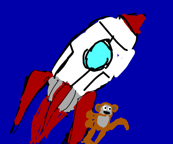 Monkey hanging on for dear life on a rocket