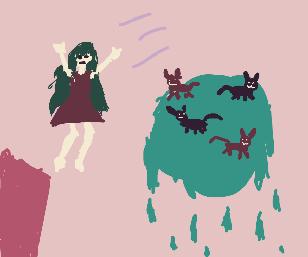 Girl leaps to dripping planet with kittens