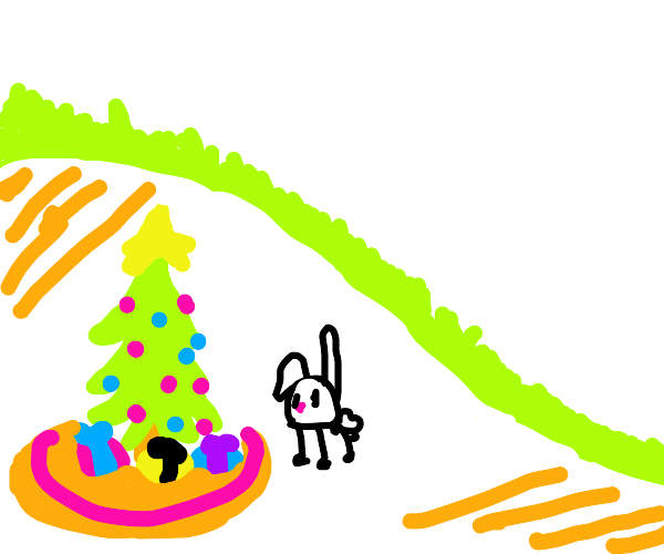 Rabbit looks at a christmas tree he decorated