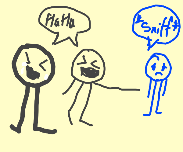 stickmen laughing at lightbulb & sad blue man
