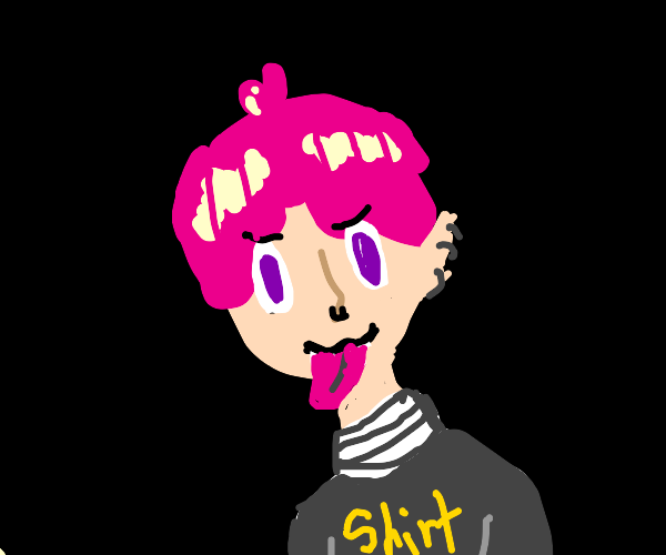 Pink haired guy with a long tongue