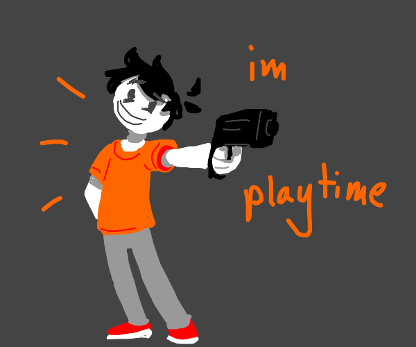 "kid says ""im playtime"" while holding a gun"