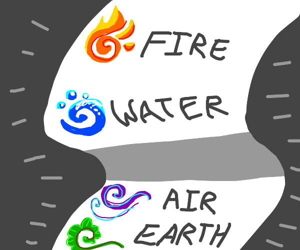 air, fire, water, earth, list of elements
