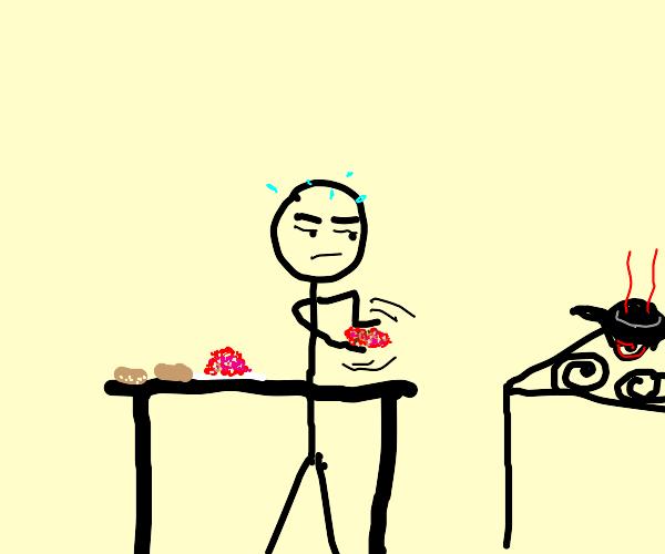Man aggressively makes hamburger.