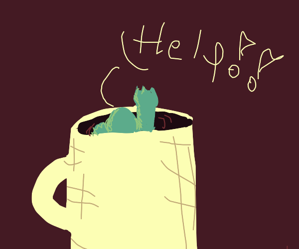 Man Drowning in a Coffee Mug