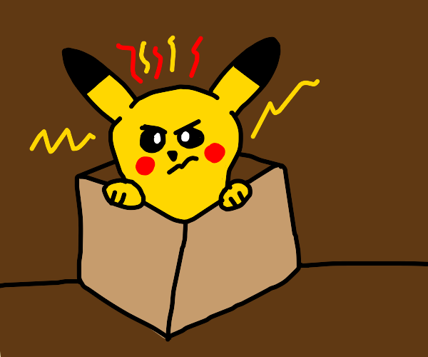 pikachu angry in a box