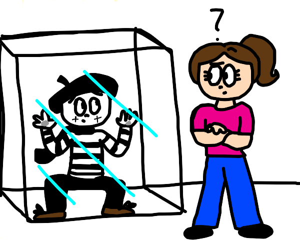 guy trapped in cube.. girl watches