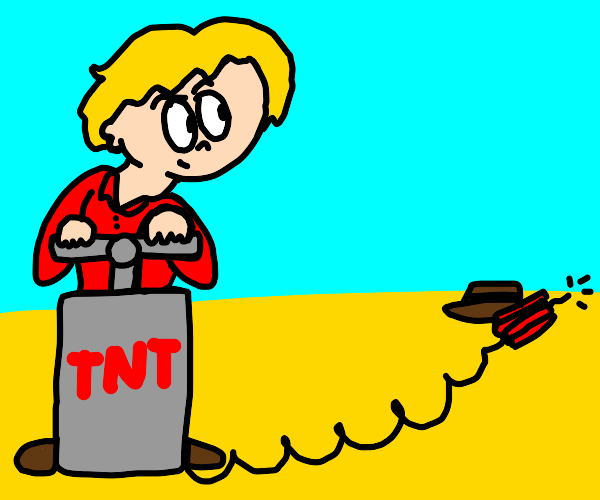 guy about to explode a hat with tnt