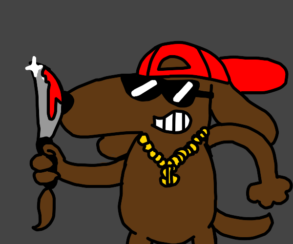 GangstaDog holding a bloody knife with tail