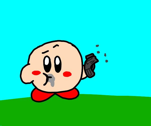 Kirby eats a gun