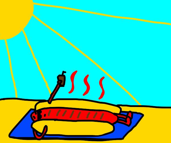 Hotdog chilling by the beach