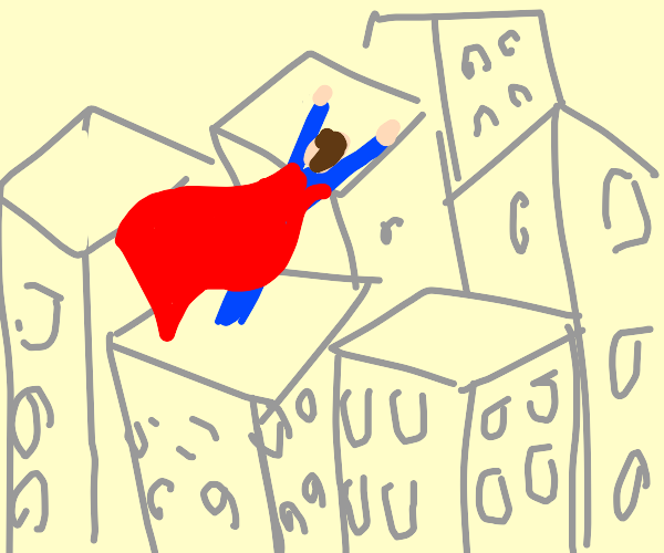 superman flying over cityscape