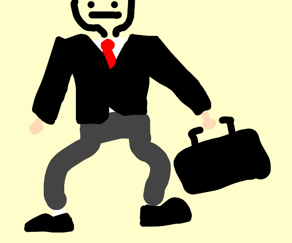 anonymus business man with a black briefcase