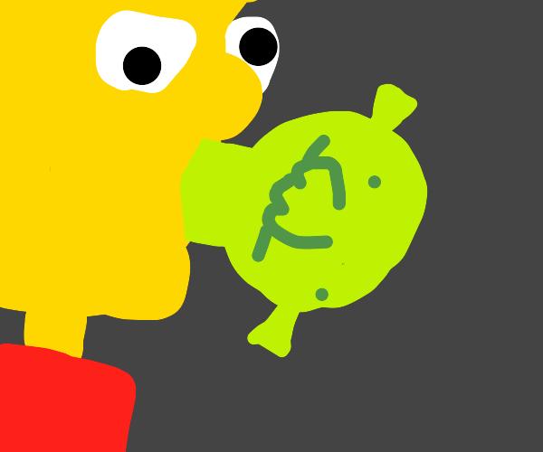 Bart Simpson eats Shrek while on acid