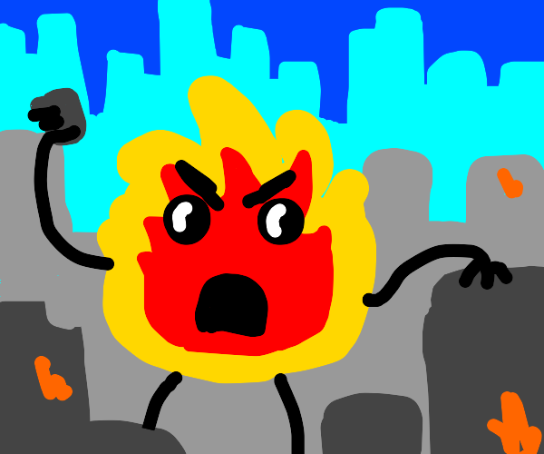 Fire monster destroys city