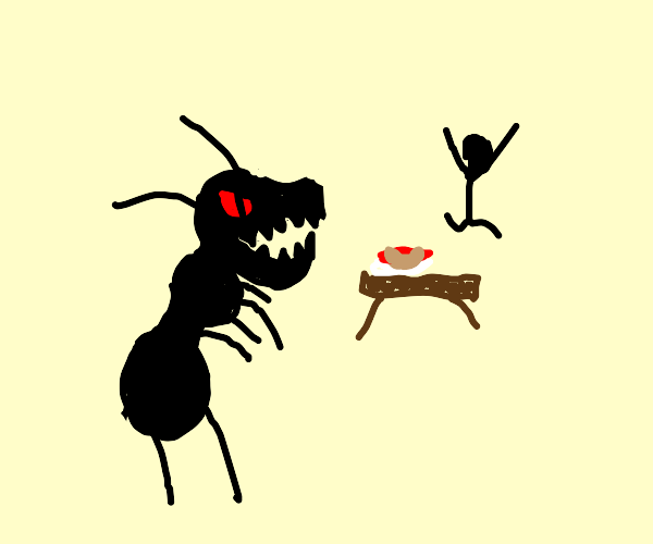 Giant ants scare off picnic eater of hotdogs