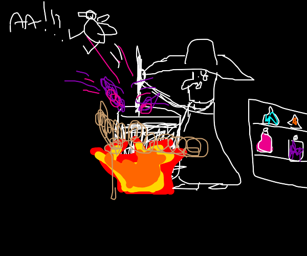 A Witch making a raven with a magical potion