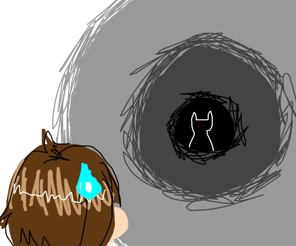 Girl looking nervously at demon cat in tunnel