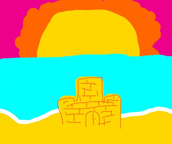 a sandcastle by a nice sunset