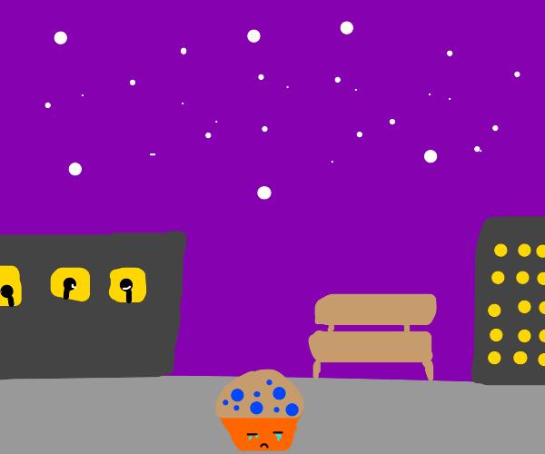 sad muffin walking through the night city