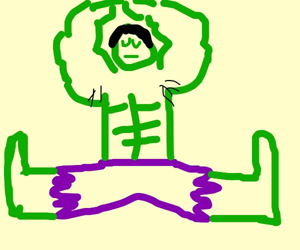 hulk doing yoga