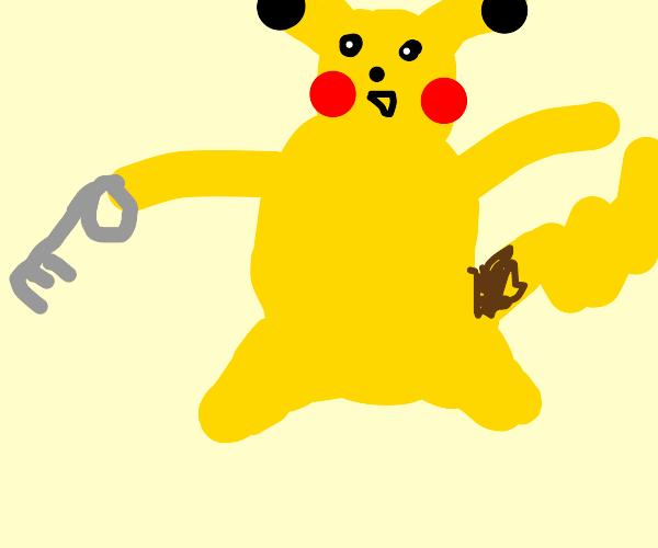 Pikachu holding a key