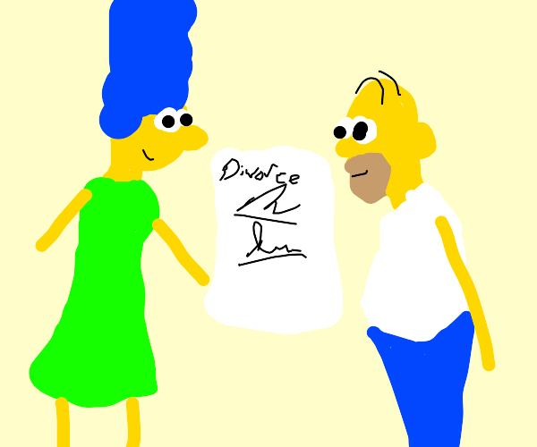 marge and homer getting a divorce [happy]