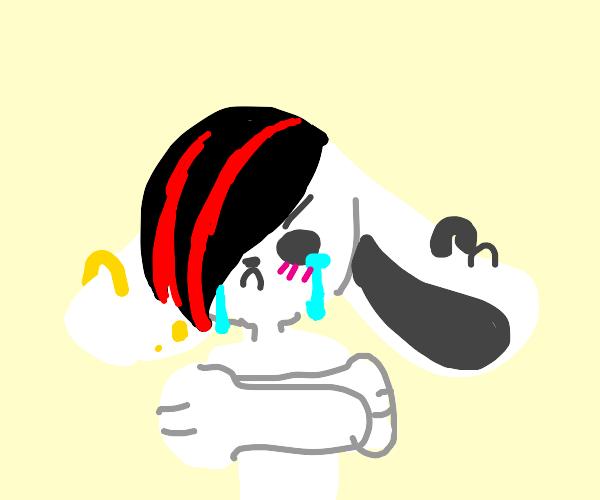 Edgy teenage rabbit cries