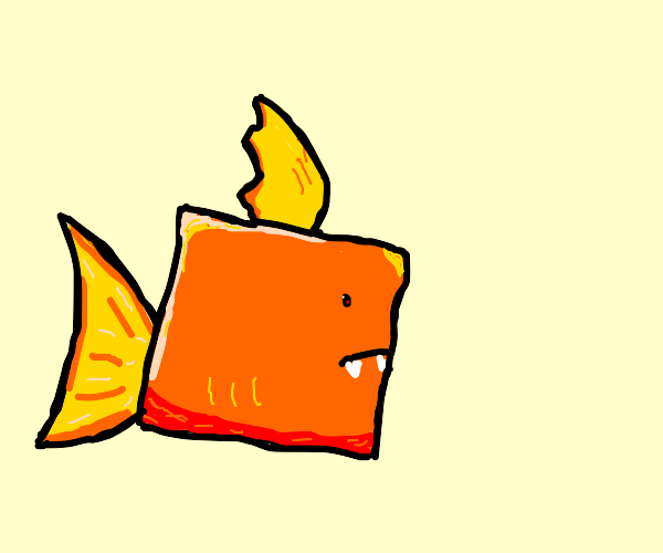 Square fish with fangs