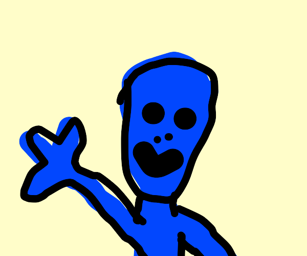 Blue alien waving at you