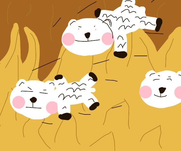 Ewe trudges through the hellfire