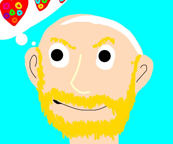 Buff blond bald man likes fruit loops