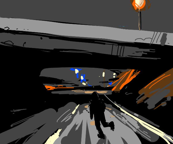 Ninja running along the highway