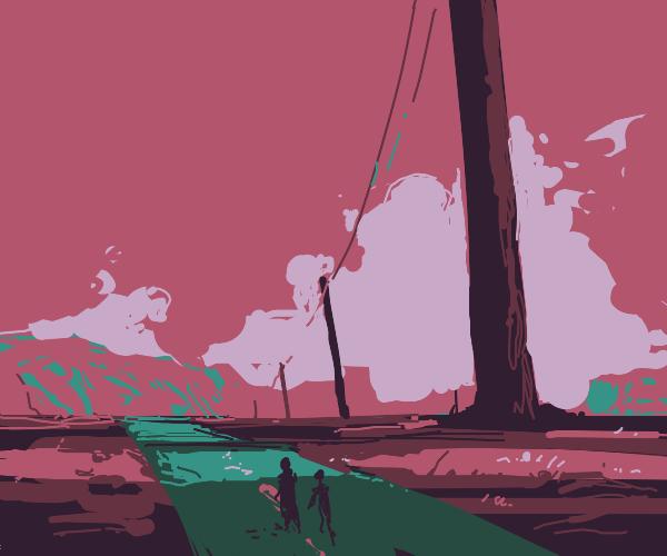Infinite expanse of giant telephone poles