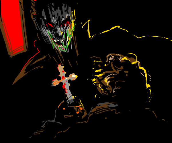 Man wards off a vampire with a wooden cross