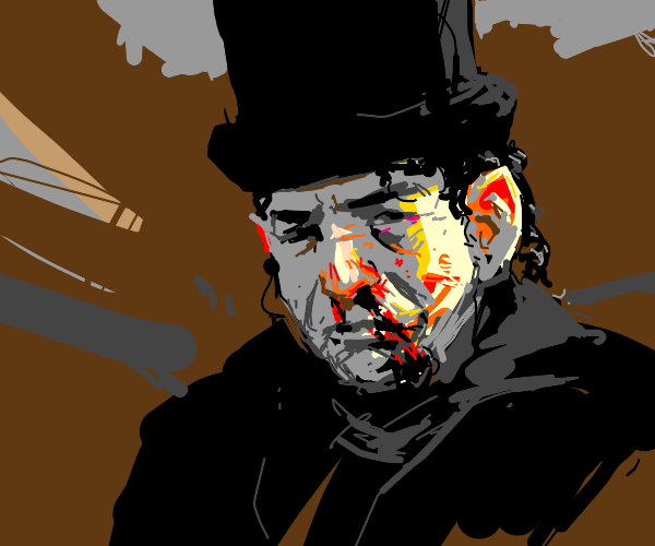 Man in top hat with bloody nose